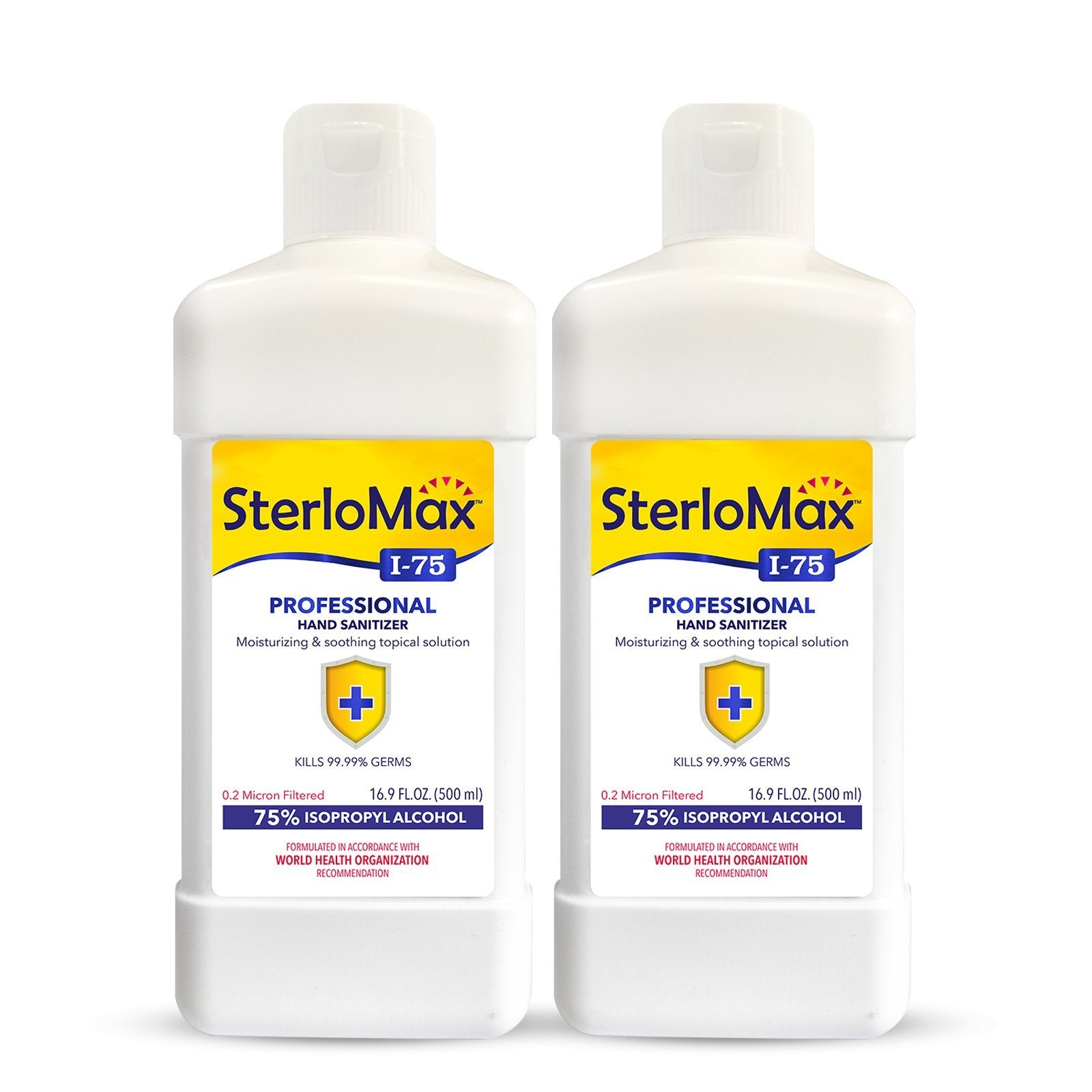 SterloMax I-75 Professional - 75% Isopropyl Alcohol-based Hand Rub Sanitizer and Disinfectant. 17 Fl Oz (500 ml). Pack of 2