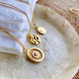 Ava Hammered Disc Necklace 18ct Gold Vermeil
