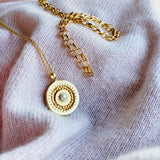 Grace Circle Pearl Necklace 18ct Gold Vermeil