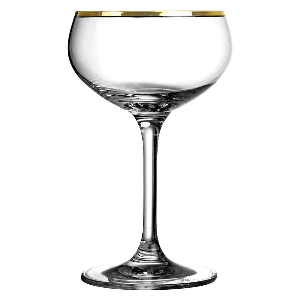 Load image into Gallery viewer, Gold Rim Champagne Glass Coupe 21cl | set of 2
