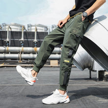 Load image into Gallery viewer, Men's Side Pockets Cargo Harem Pants 2020 Ribbons Black Hip Hop Casual Male Joggers Trousers Fashion Casual Streetwear Pants
