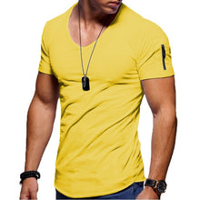 Load image into Gallery viewer, 2020 New Men's V-neck T-shirt Fitness Bodybuilding T-shirt High Street Summer Short-Sleeved Zipper Casual Cotton Top