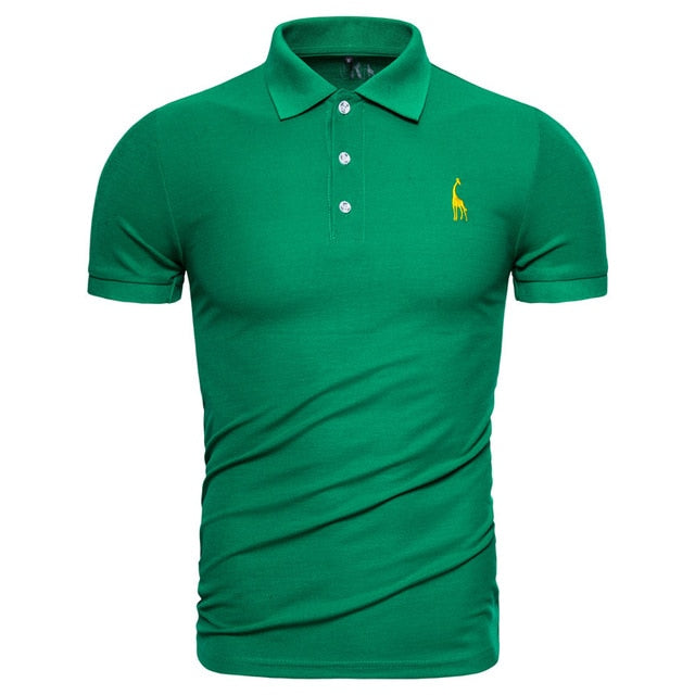 Dropshipping 2019 New Polo Shirt Men Solid Casual Cotton Polo Giraffe Men Slim Fit Embroidery Short Sleeve Men's Polo 10 Colors