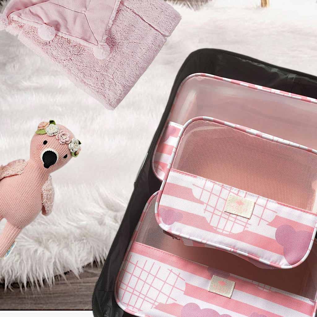 Itty Bitty Pink Baby Packing Cube Collection with Matching Travel Laundry Bag