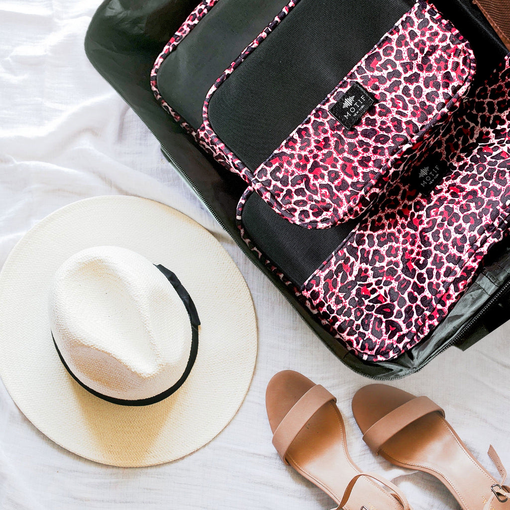 Jetsetter Packing Cube Collection in Pink Leopard Print
