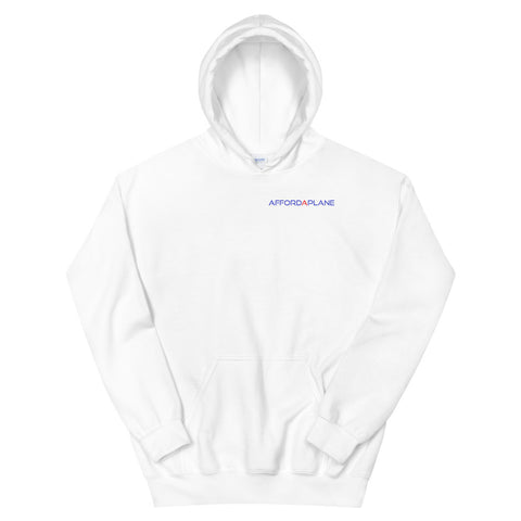 Affordaplane 3 view drawing on back Unisex Hoodie