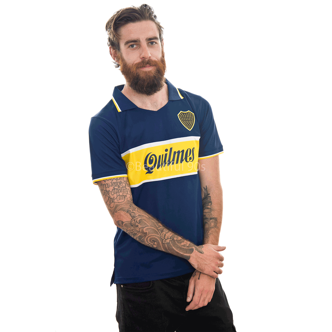 1997 Boca Quilmes home retro replica football shirt