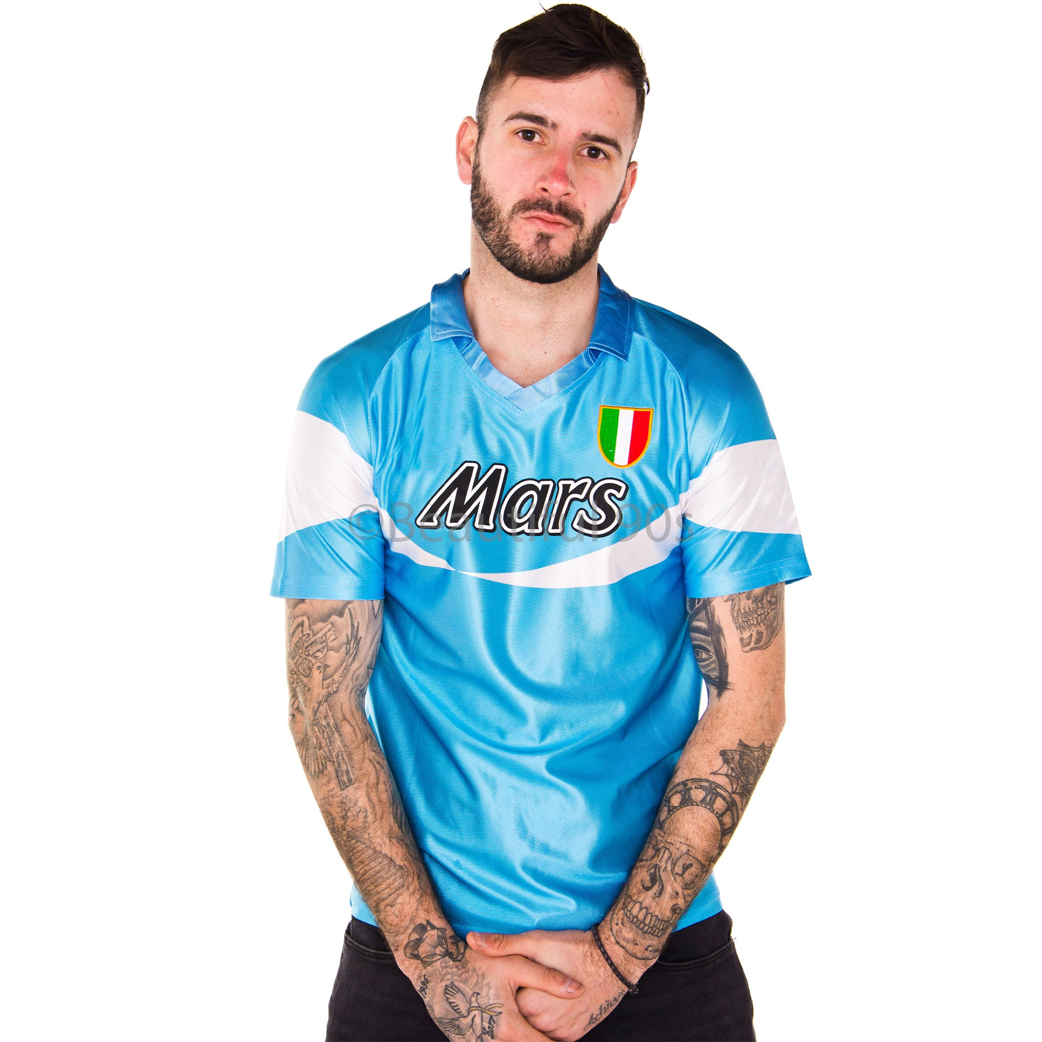 1990-1991 Napoli home stripe replica retro football shirt