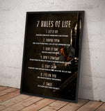 7 Rules of Life. Motivational - Framed poster
