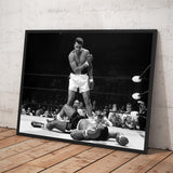 Muhammad Ali vs Sonny Liston. First Round KO 1965. One of boxing most iconic photo.  - Framed poster