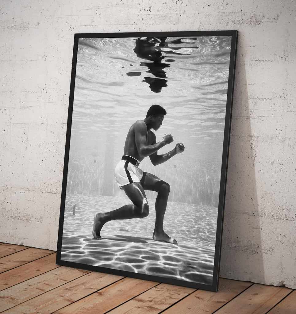 Muhammad Ali Vintage Photo Training underwater 1961  - Framed poster