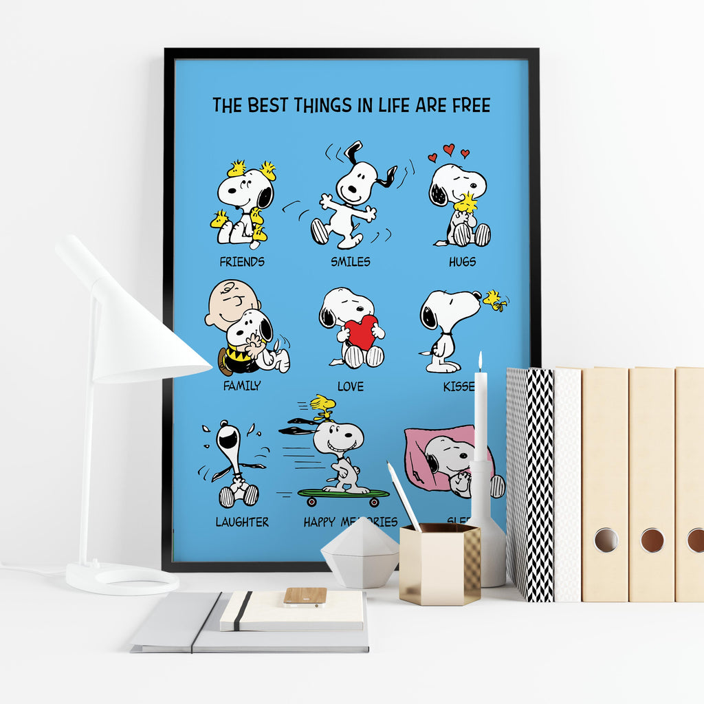 "Snoopy, Woodstock and Charlie Brown Peanuts. ""Best things in life are free"" -  Framed poster"