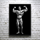 Arnold Schwarzenegger Double Bicep Pose Classic  - Framed poster