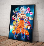 Dragon Ball Son Goku's powerful forms. - Framed poster