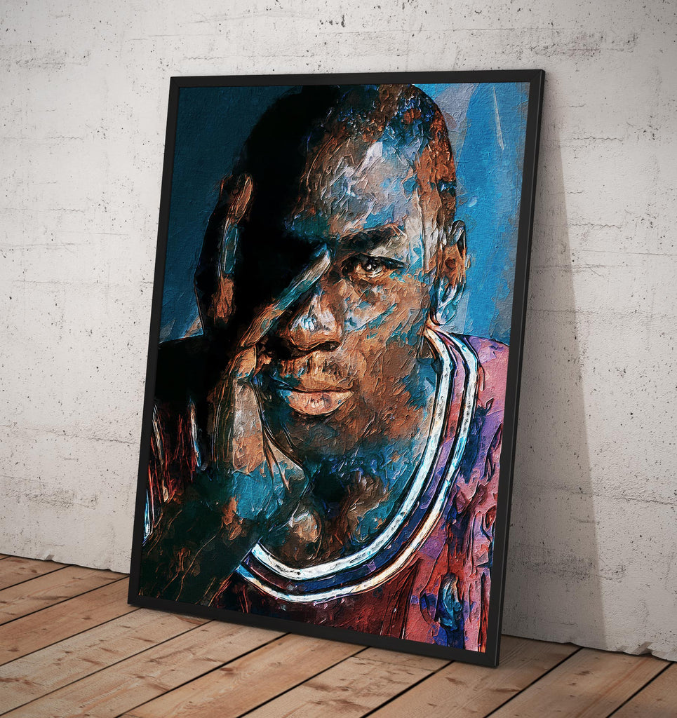 Michael Jordan Stylized Art  Portrait - Framed poster