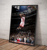 Michael Jordan. Two Handed Slam Dunk. - Framed poster