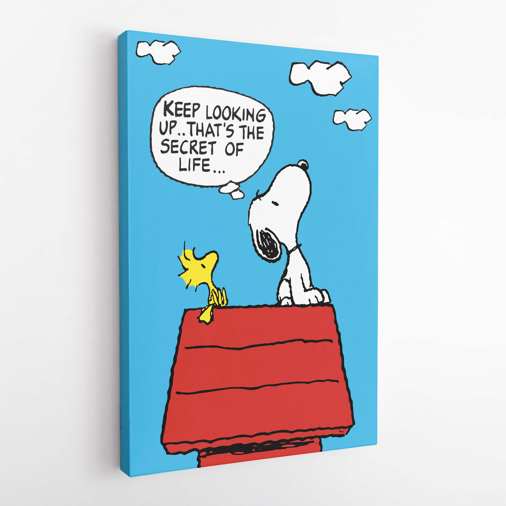Snoopy and Woodstock. Keep Looking Up - That's the secret of life. - Canvas