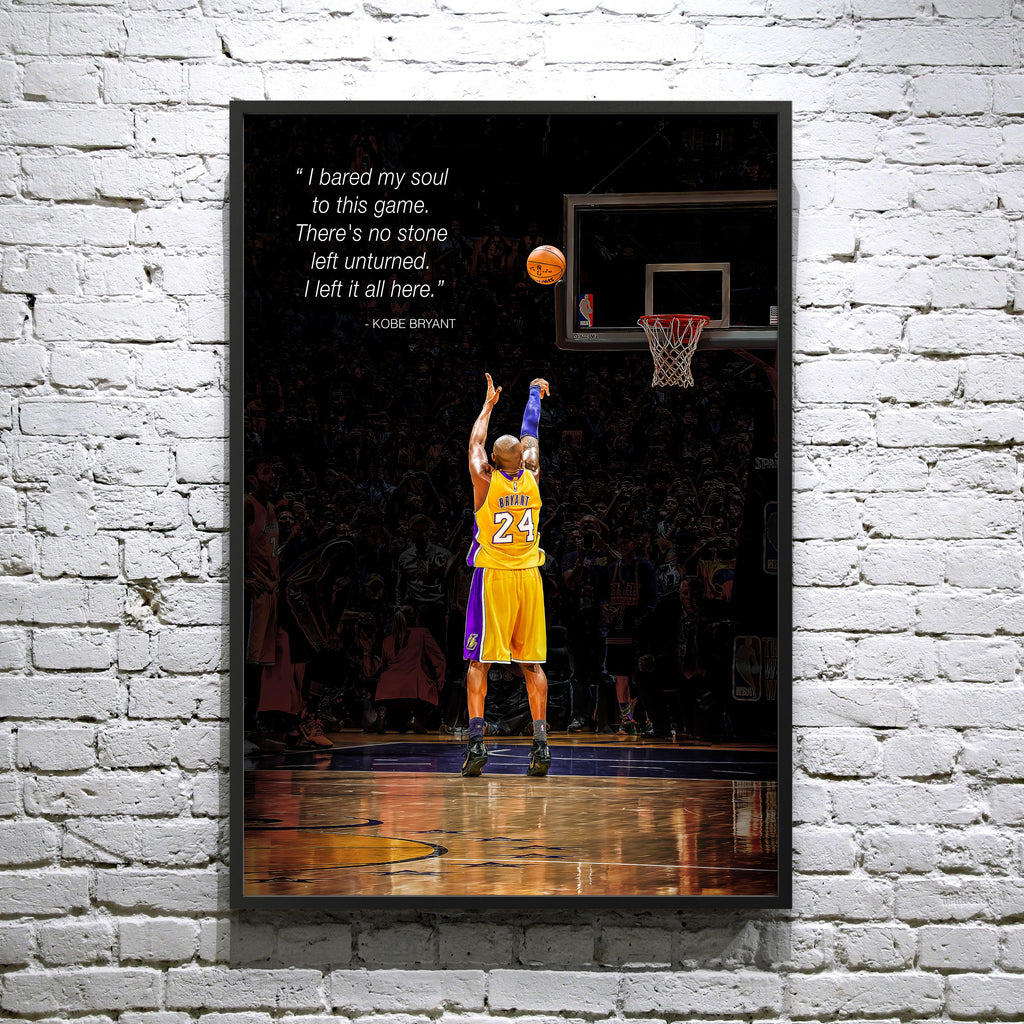 "Kobe Bryant ""Last Shot"" Kobe scores 60 points in his Final NBA Game at STAPLES Center 4-13-16 - Framed poster"