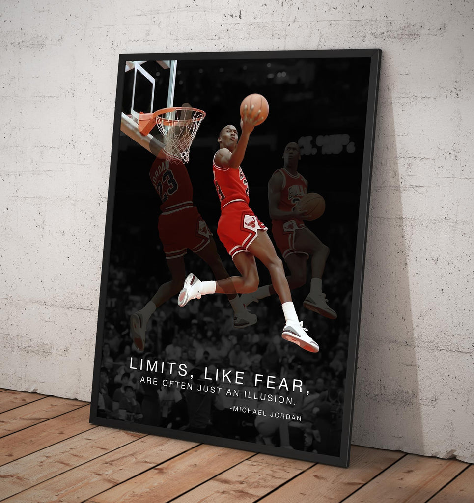 "Michael Jordan ""Limits, Like Fears, Are Often Just an Illusion. - Framed poster"