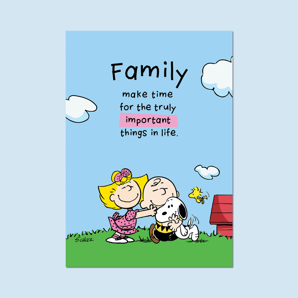 "Snoopy with Charlie, Sally Brown and Woodstock. ""Family -make time for the truly important things in life"" Poster"