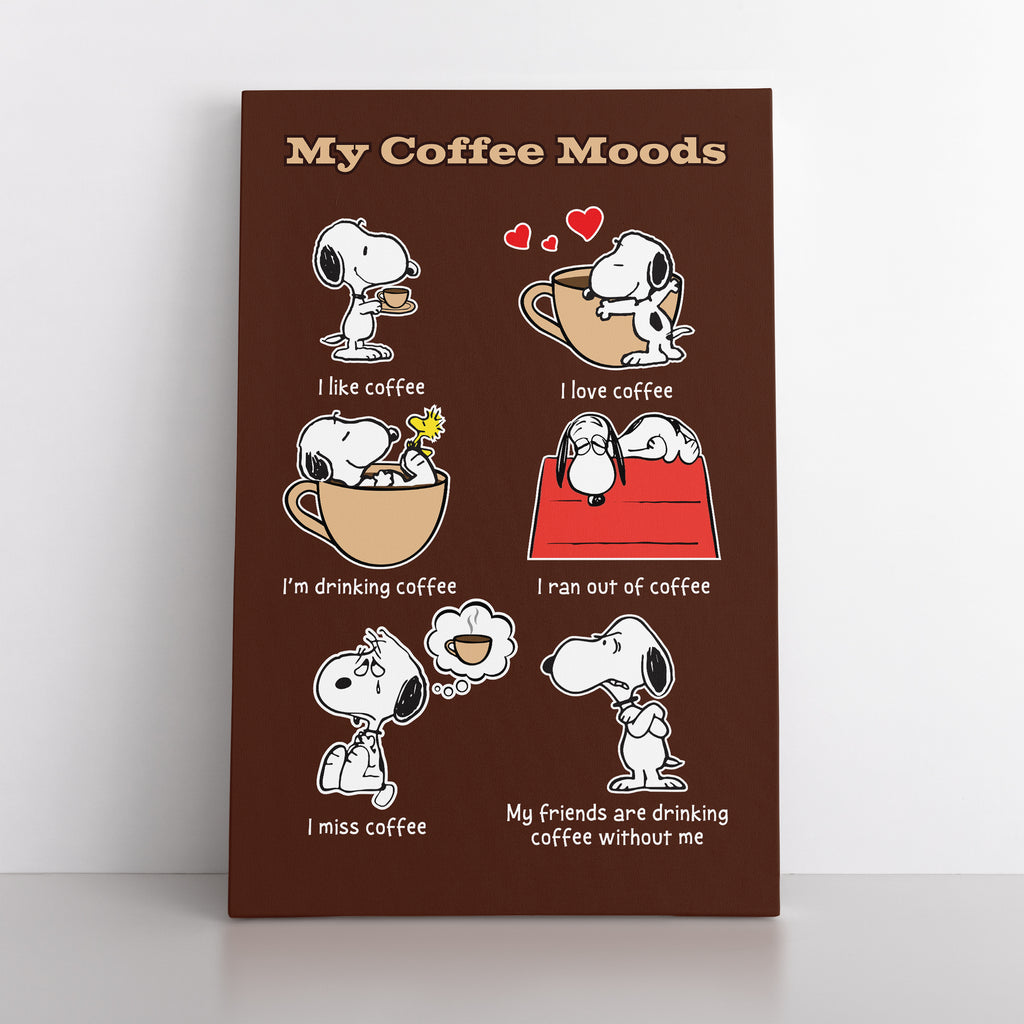 "Snoopy, Woodstock ""My Coffee Moods"" - Canvas"