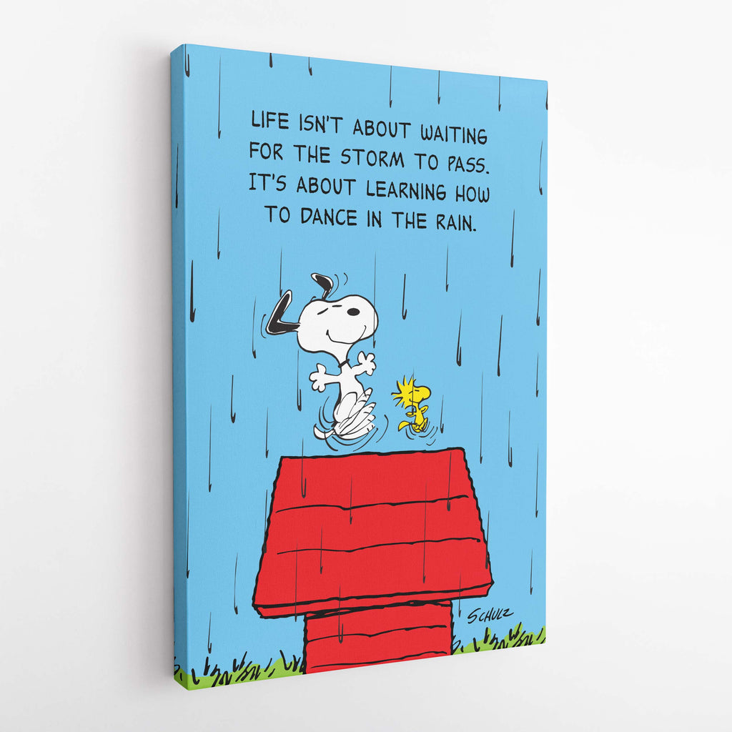 "Snoopy and Woodstock. ""Life isn't about waiting for the storm to pass. It's about learning how to dance in the rain."" - Canvas"