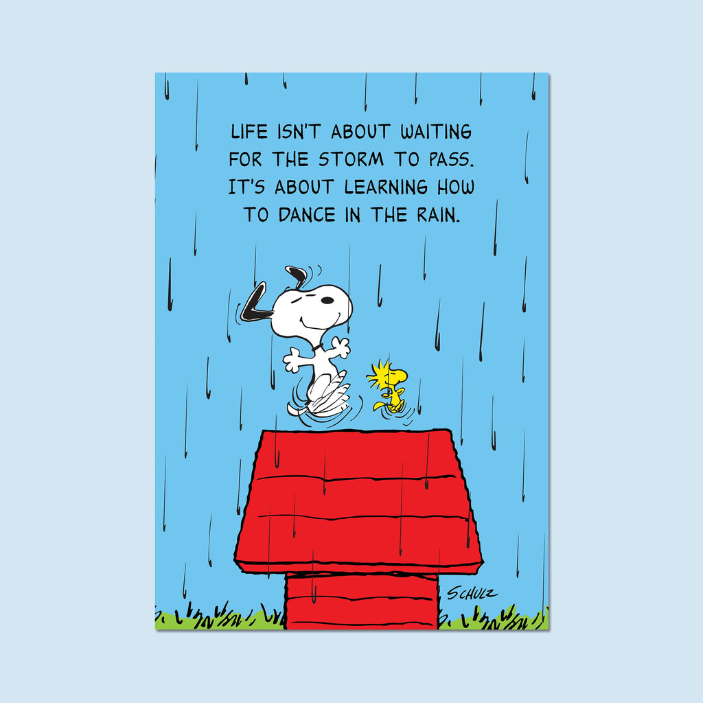 "Snoopy and Woodstock. ""Life isn't about waiting for the storm to pass. It's about learning how to dance in the rain."" - Poster"