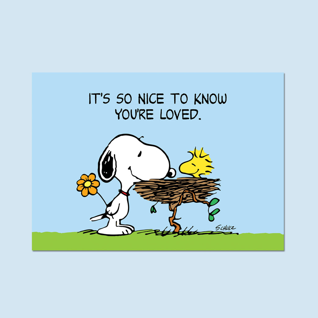 "Snoopy and Woodstock. ""It's so nice to know you're loved."" H1 - Poster"