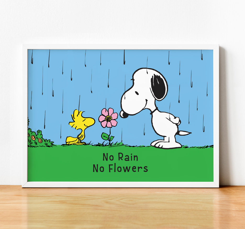 Snoopy and Woodstock. No Rain No Flowers. - Framed poster