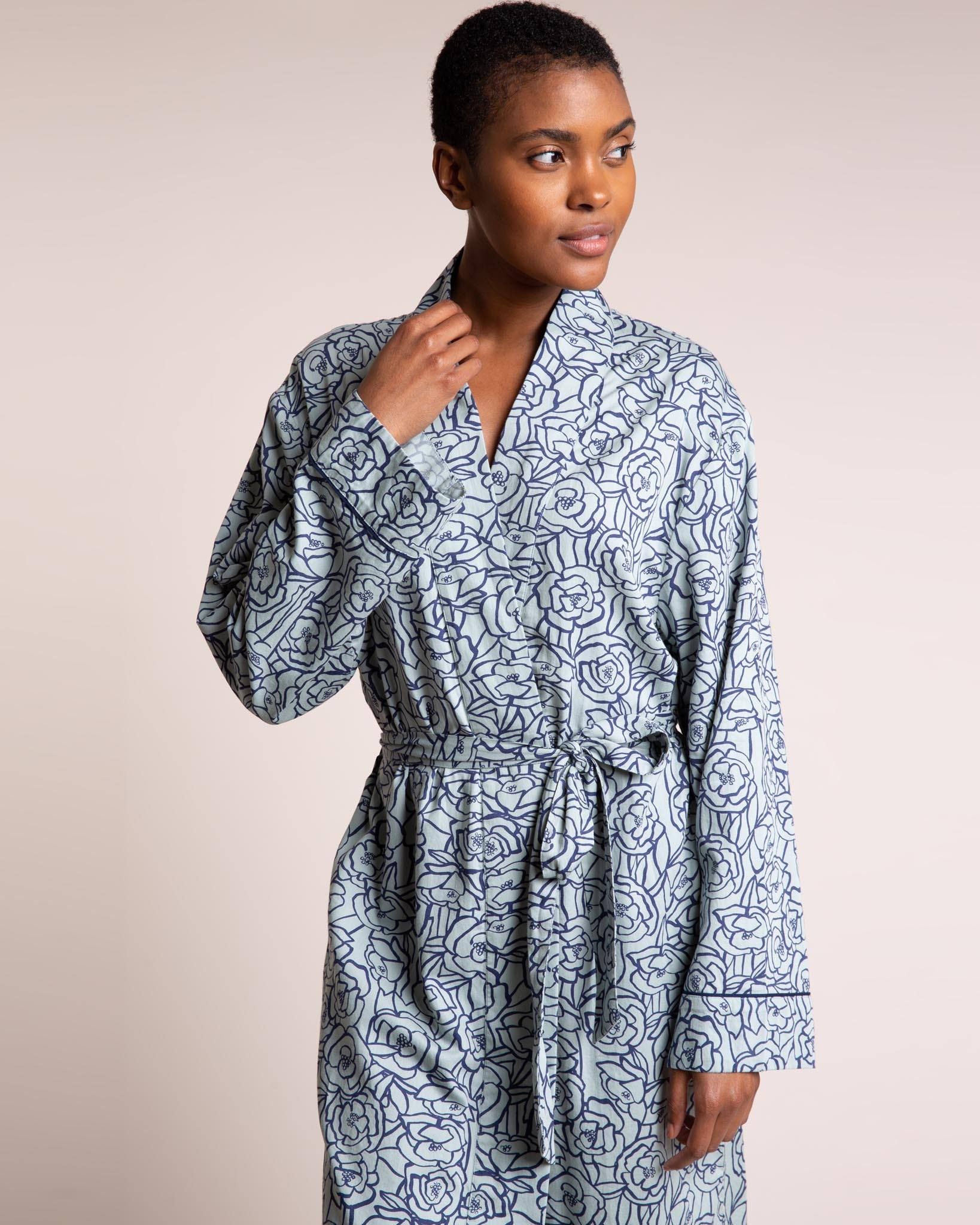 Bums and Roses Organic Cotton Robe Dressing Gowns Yawn
