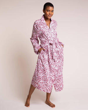 Pink Hideaway Organic Cotton Robe Dressing Gowns Yawn