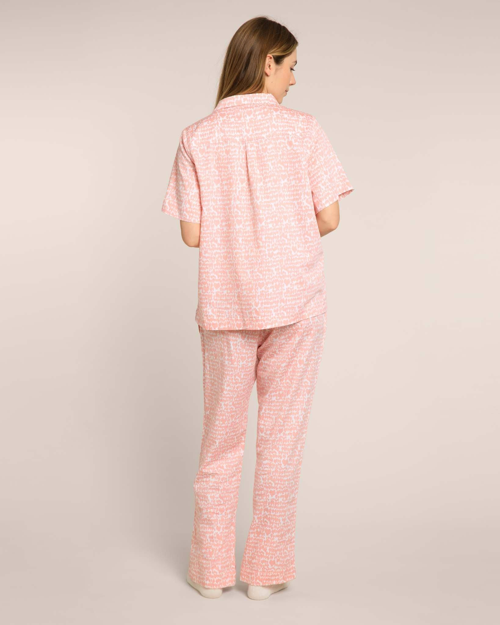 Pink Lovebirds Organic Short Sleeved Pyjama Set PJ Sets Yawn