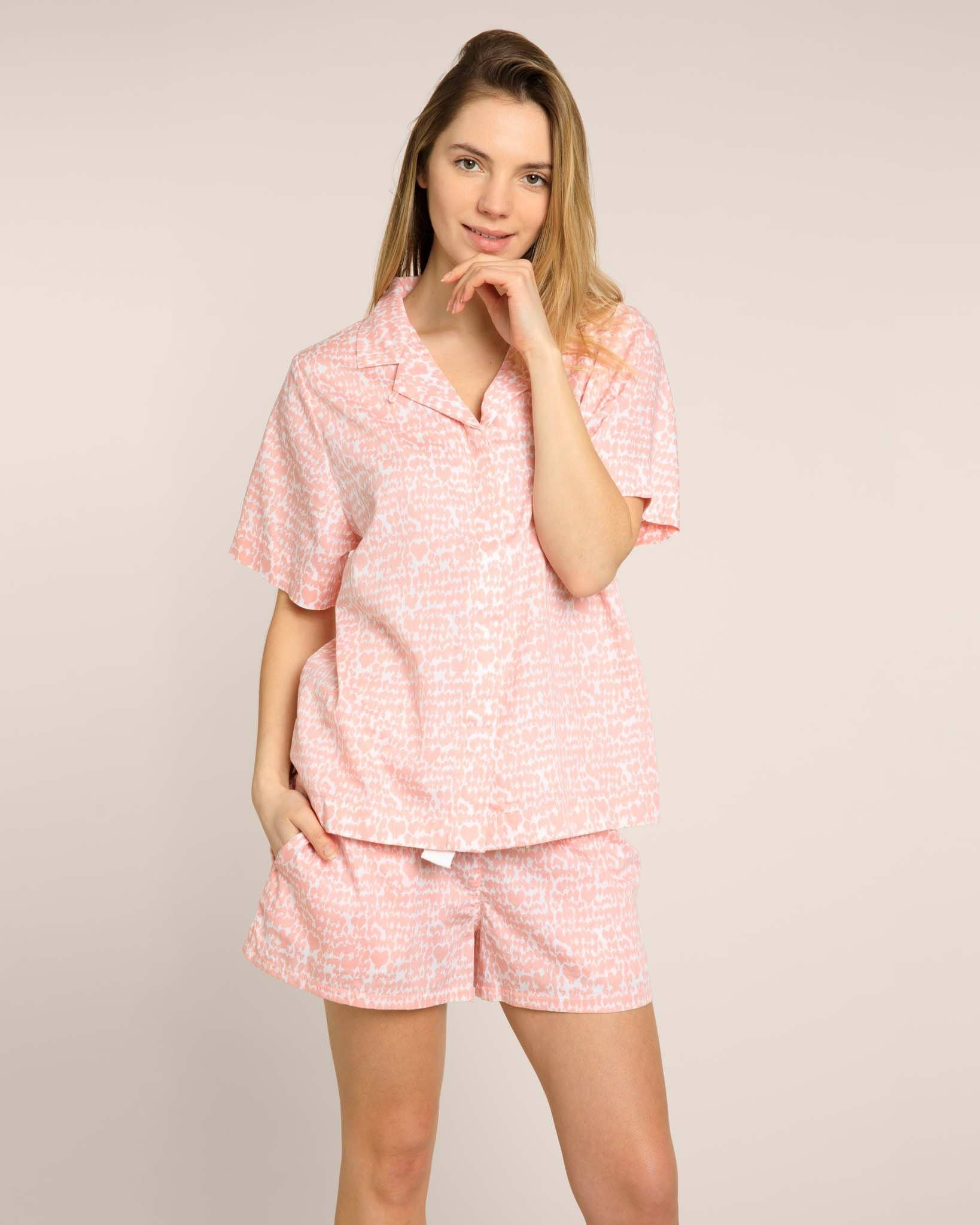 Pink Lovebirds Organic Shorts Pyjama Set PJ Sets Yawn