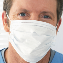 Load image into Gallery viewer, Person showing how fit a Type-2 PPE fabric disposable surgical mask