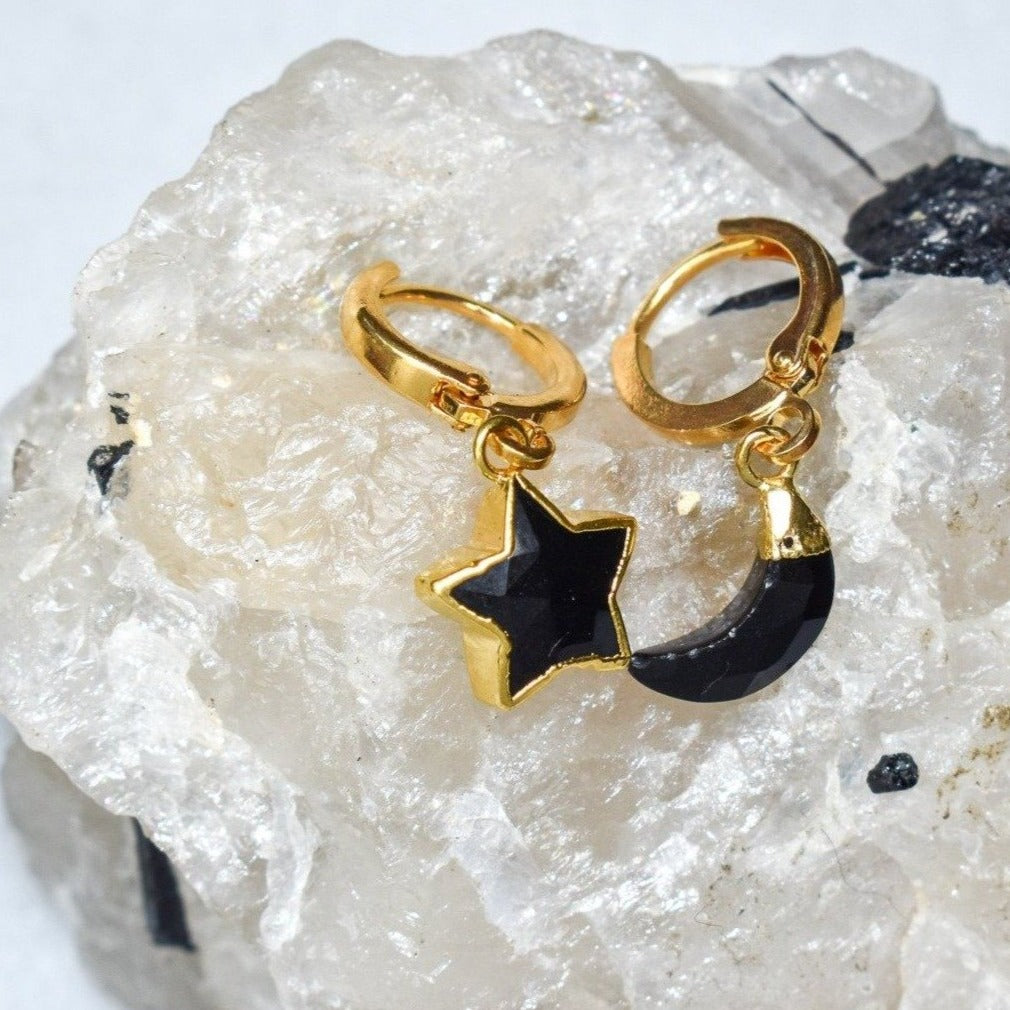Onyx Moon & Star Earrings