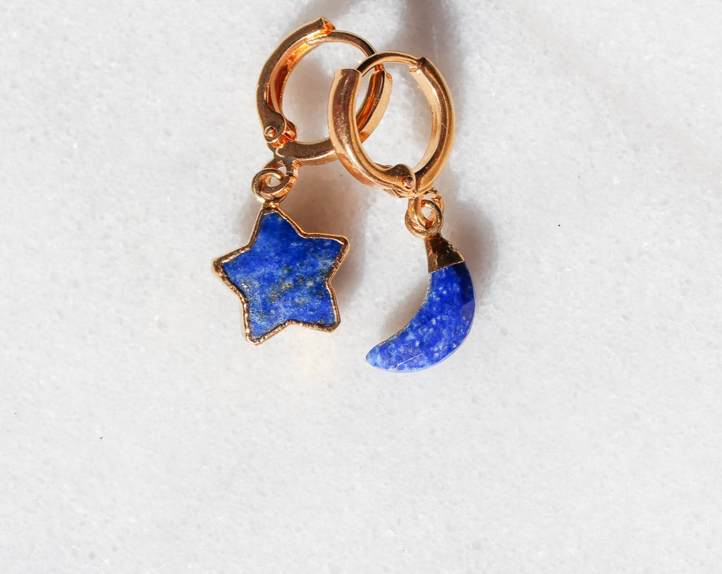 Lapis Lazuli Moon & Star Earrings