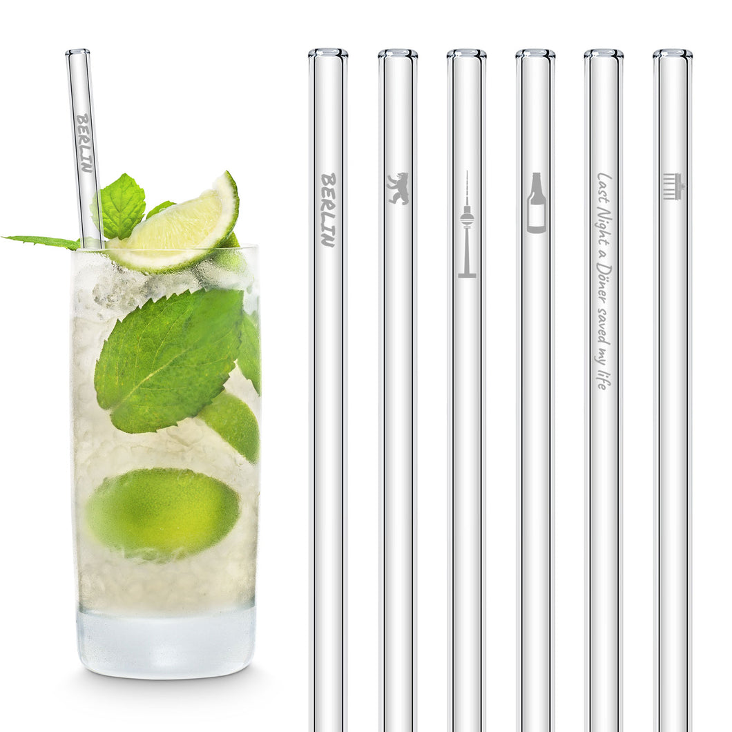 Berlin Glass Straws 8 inch Engraved with Berlin Germany attractions  - Set of 6
