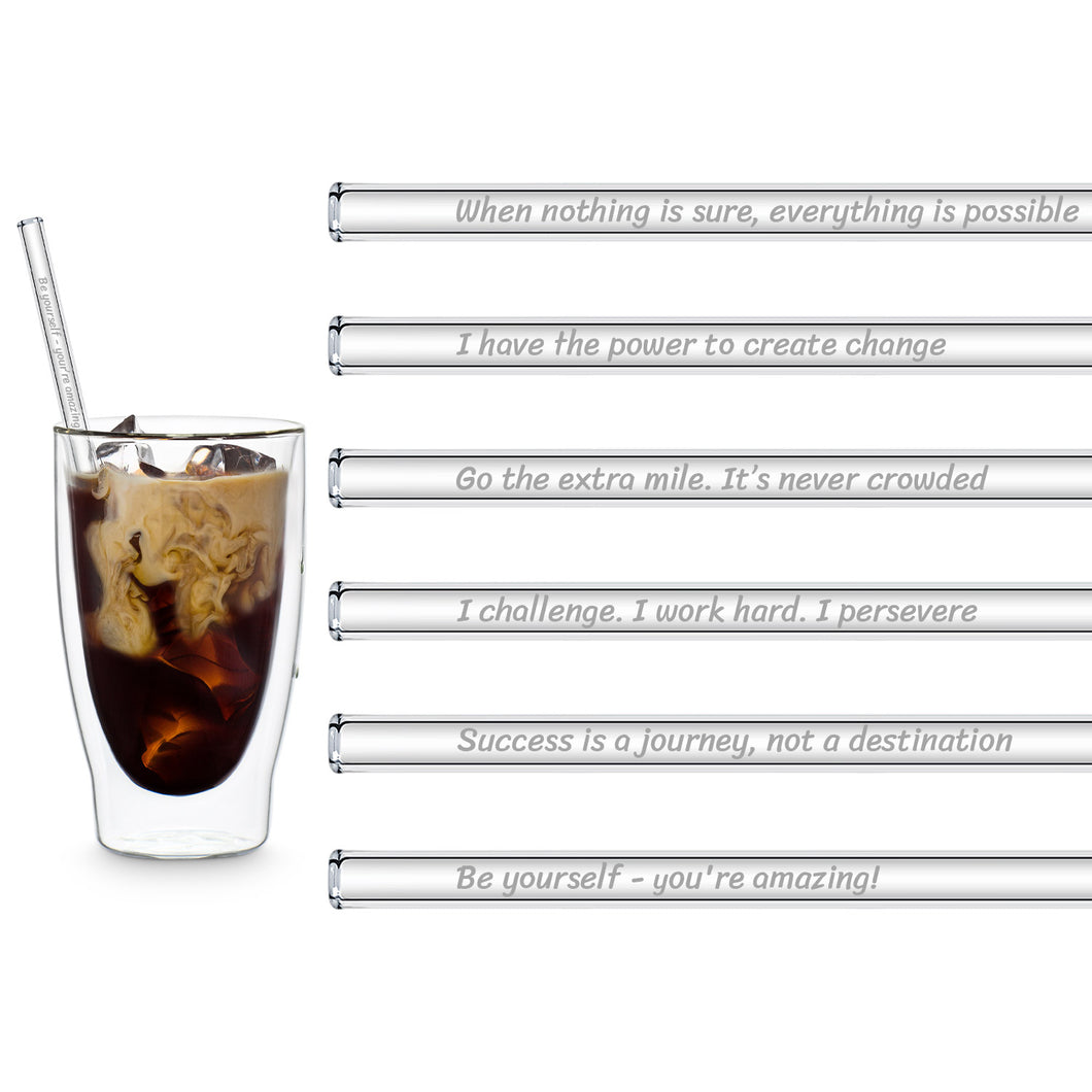 Motivation Glass Straws 8 inch Engraved with motivational quotes for work - Set of 6
