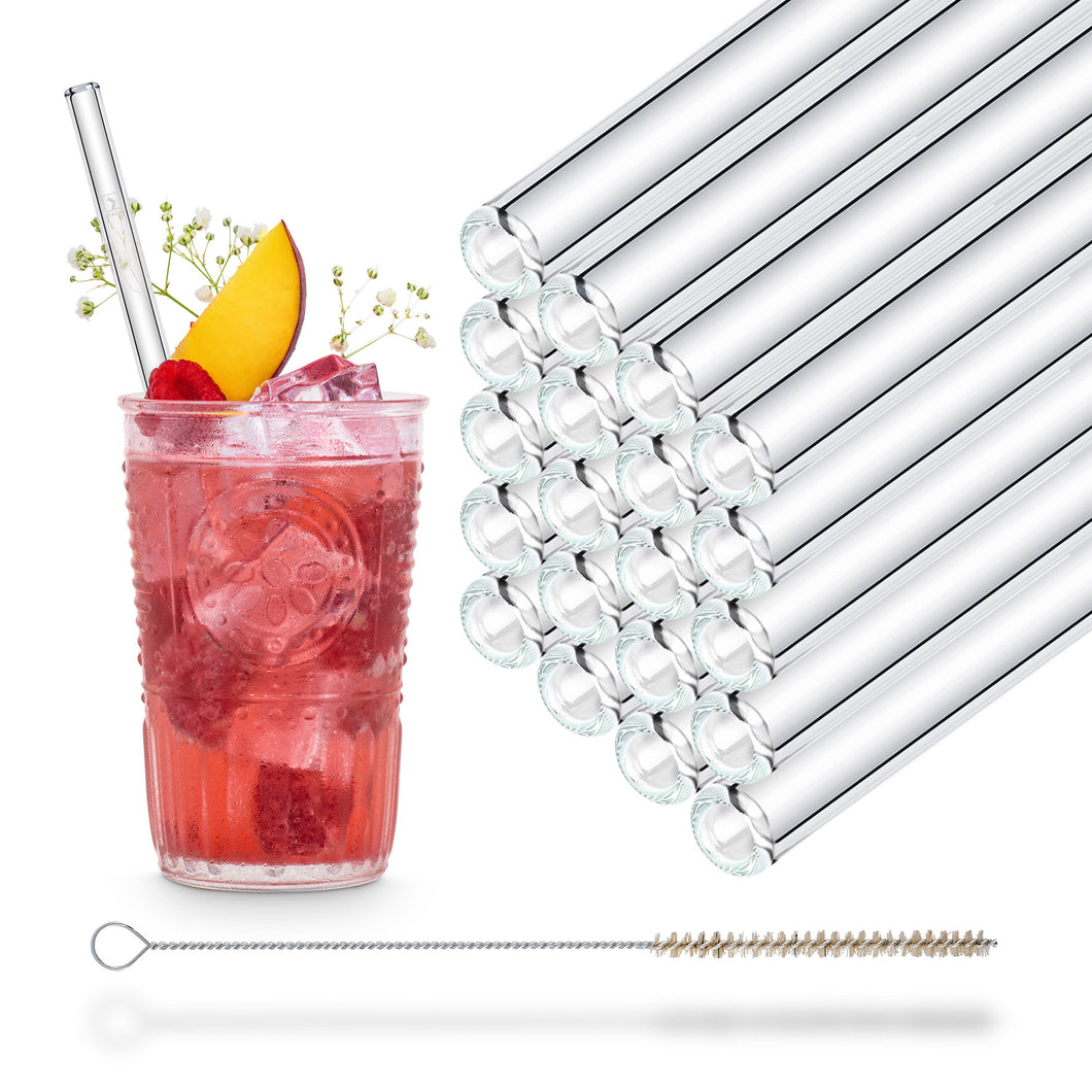 Reusable Glass Straw Party Pack 8 inch with plastic free brush - Set of 20