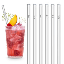 Load image into Gallery viewer, Party Glass Straws 8 inch Engraved with celebratory designs - Set of 6
