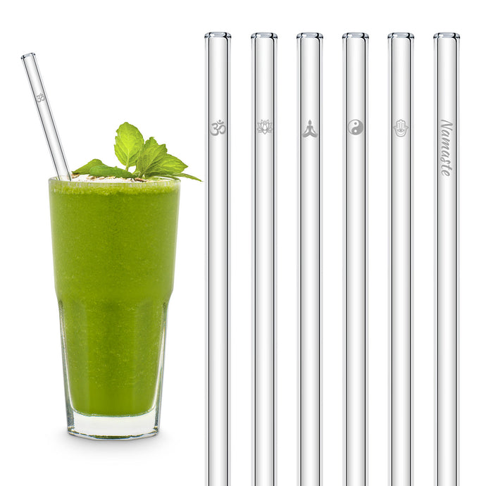 Yoga Symbols Glass Straws with Designs engraved Best gift for women who love yoga