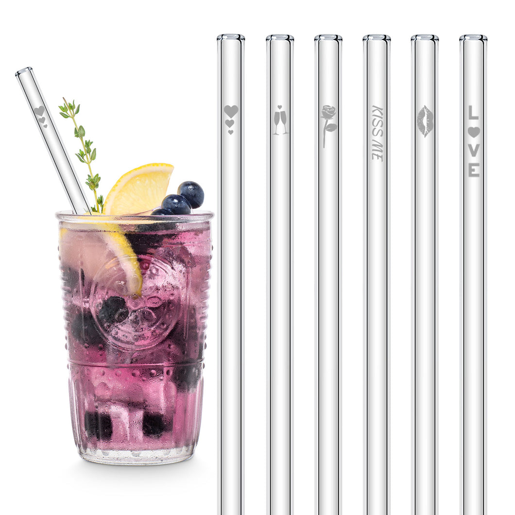 Love Glass Straws 8 inch Engraved with Symbols of Love & Romance - Set of 6