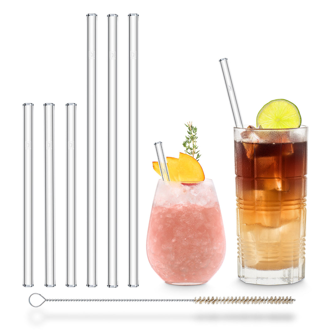 Reusable Glass Straws 9 inch + 6 inch mixed set with plastic free brush - Combo 6 Pack