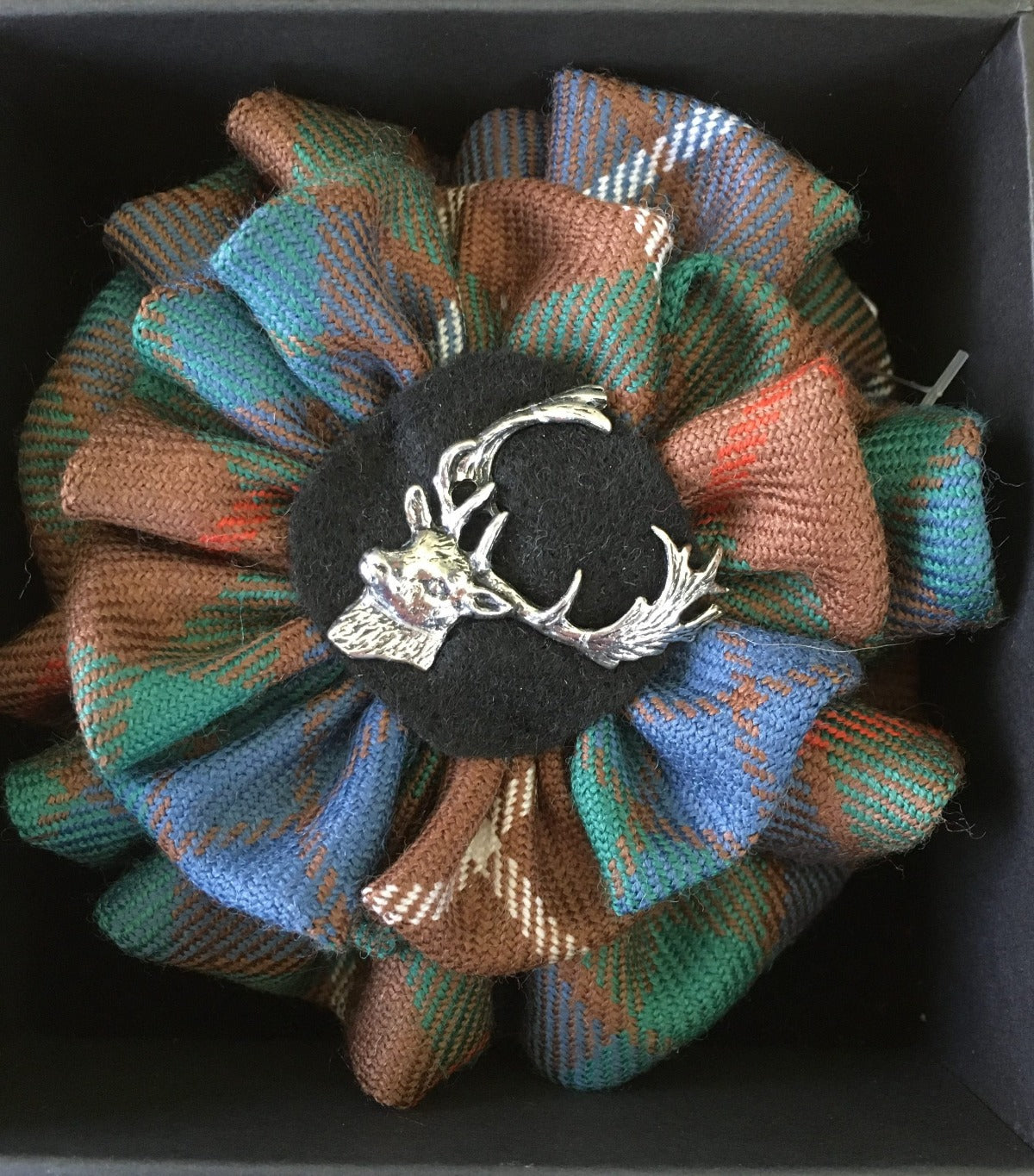 Ancient Hunting Fraser Tartan with Stag Brooch