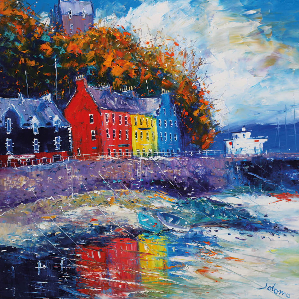 Autumn Light Reflections, Tobermory, Isle of Mull Card by Jolomo