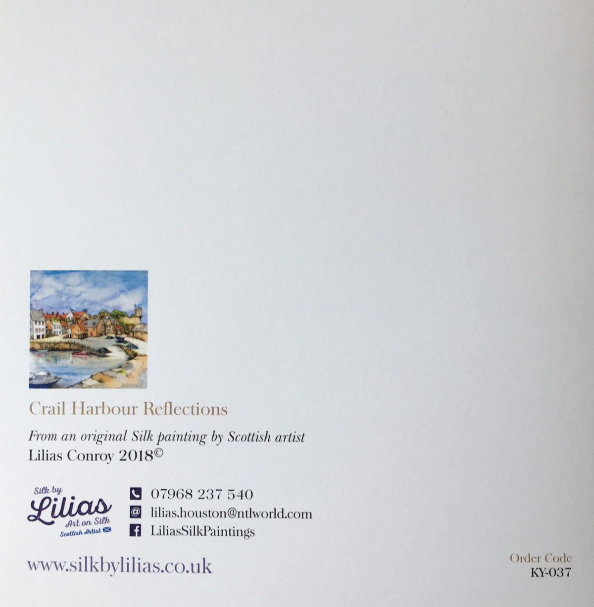 Crail Harbour Card , back