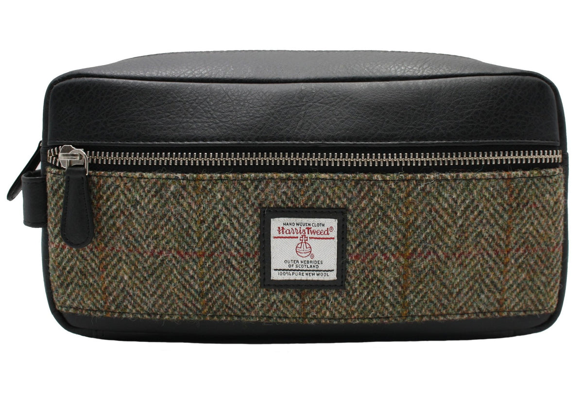 Harris Tweed Wash Bag in Country Green with Black Trim
