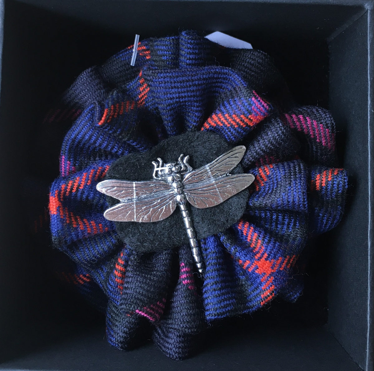 Highland Bell Tartan with Dragonfly Brooch