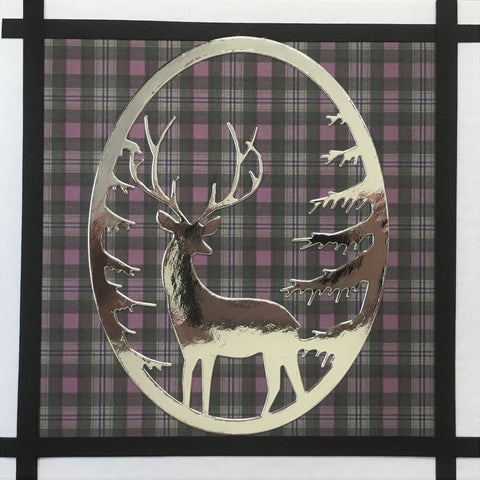 Scottish Stag on Gray Tartan Card