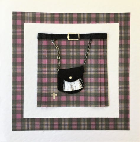 Kilt in Gray and Purple card